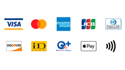Visa, Mastercard, American Express, JCB, Diners Club, Discover,iD, QUICPay+, Apple Pay